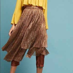 NWT Maeve Metallic Skirted Pants Anthropologie 12